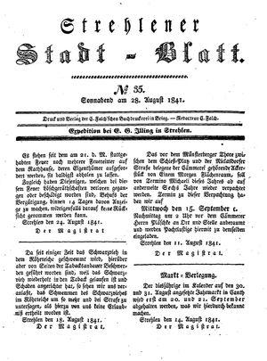 Strehlener Stadtblatt vom 28.08.1841