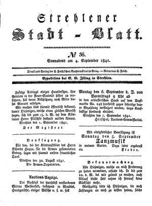 Strehlener Stadtblatt vom 04.09.1841