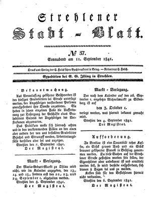 Strehlener Stadtblatt vom 11.09.1841
