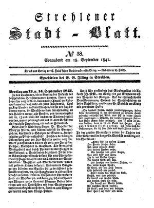Strehlener Stadtblatt vom 18.09.1841