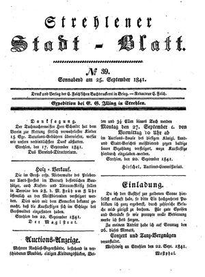 Strehlener Stadtblatt on Sep 25, 1841