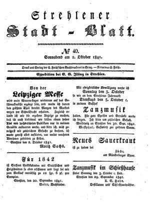 Strehlener Stadtblatt vom 02.10.1841