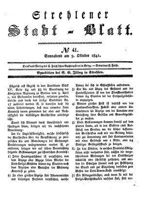 Strehlener Stadtblatt vom 09.10.1841