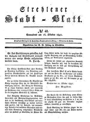 Strehlener Stadtblatt vom 16.10.1841