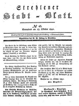 Strehlener Stadtblatt vom 23.10.1841