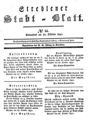 Strehlener Stadtblatt vom 30.10.1841