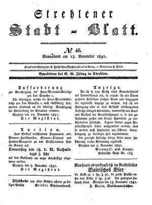 Strehlener Stadtblatt vom 13.11.1841