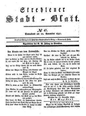 Strehlener Stadtblatt vom 20.11.1841