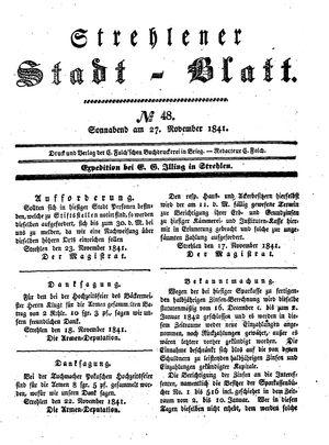 Strehlener Stadtblatt vom 27.11.1841
