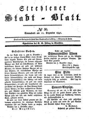 Strehlener Stadtblatt vom 11.12.1841