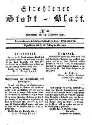 Strehlener Stadtblatt vom 18.12.1841