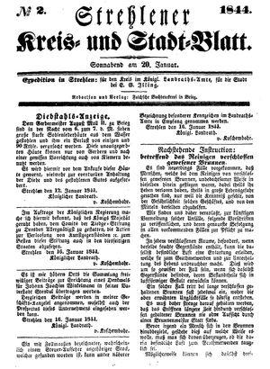 Strehlener Kreis- und Stadtblatt vom 20.01.1844