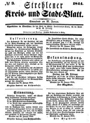 Strehlener Kreis- und Stadtblatt vom 27.01.1844