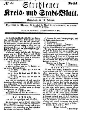 Strehlener Kreis- und Stadtblatt vom 10.02.1844