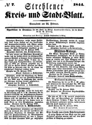 Strehlener Kreis- und Stadtblatt vom 24.02.1844