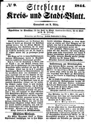 Strehlener Kreis- und Stadtblatt vom 09.03.1844