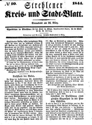 Strehlener Kreis- und Stadtblatt vom 16.03.1844