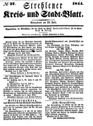 Strehlener Kreis- und Stadtblatt vom 13.07.1844