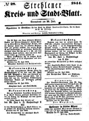 Strehlener Kreis- und Stadtblatt vom 20.07.1844