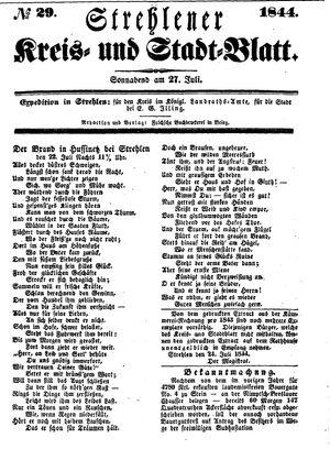 Strehlener Kreis- und Stadtblatt vom 27.07.1844