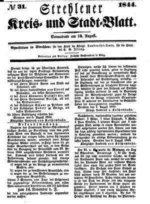 Strehlener Kreis- und Stadtblatt on Aug 10, 1844