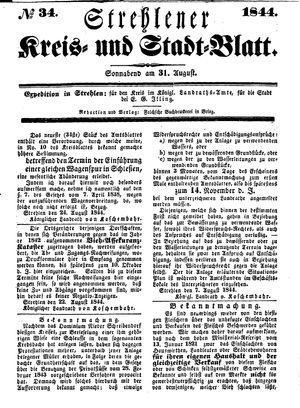 Strehlener Kreis- und Stadtblatt vom 31.08.1844