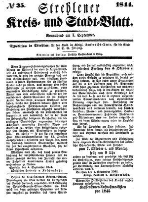 Strehlener Kreis- und Stadtblatt vom 07.09.1844