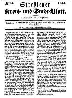 Strehlener Kreis- und Stadtblatt vom 14.09.1844