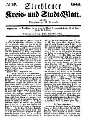 Strehlener Kreis- und Stadtblatt vom 21.09.1844