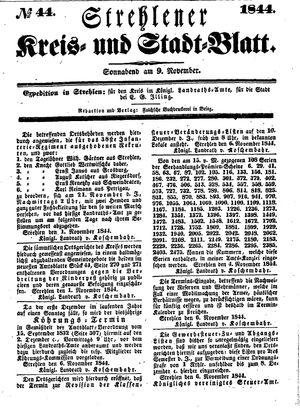 Strehlener Kreis- und Stadtblatt vom 09.11.1844