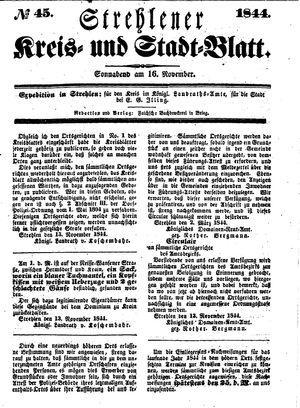 Strehlener Kreis- und Stadtblatt vom 16.11.1844
