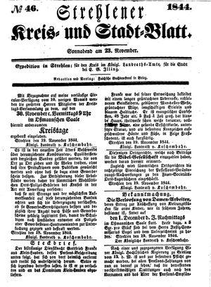 Strehlener Kreis- und Stadtblatt vom 23.11.1844