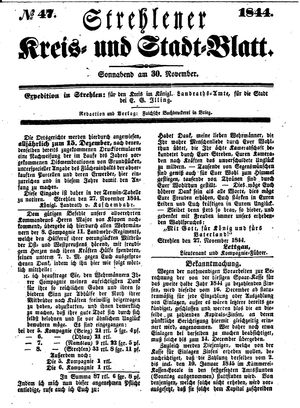 Strehlener Kreis- und Stadtblatt vom 30.11.1844