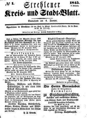 Strehlener Kreis- und Stadtblatt vom 04.01.1845