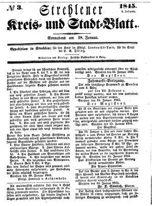 Strehlener Kreis- und Stadtblatt vom 18.01.1845