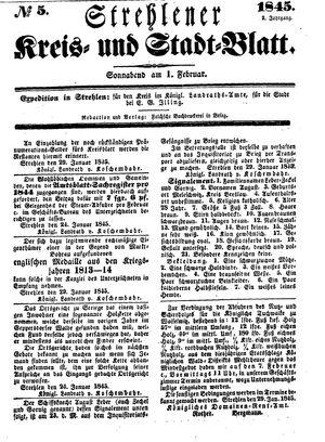 Strehlener Kreis- und Stadtblatt vom 01.02.1845