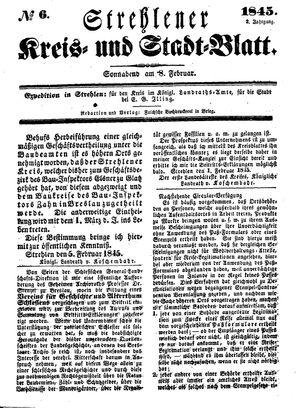 Strehlener Kreis- und Stadtblatt vom 08.02.1845