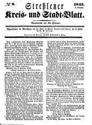 Strehlener Kreis- und Stadtblatt vom 22.02.1845