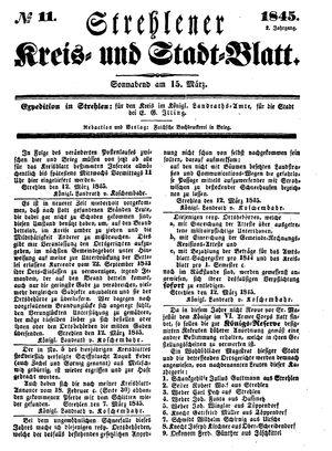 Strehlener Kreis- und Stadtblatt vom 15.03.1845