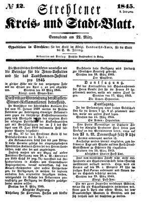 Strehlener Kreis- und Stadtblatt vom 22.03.1845