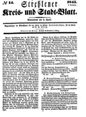 Strehlener Kreis- und Stadtblatt vom 05.04.1845