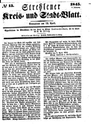 Strehlener Kreis- und Stadtblatt vom 12.04.1845