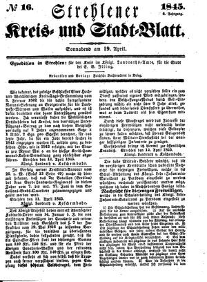Strehlener Kreis- und Stadtblatt vom 19.04.1845