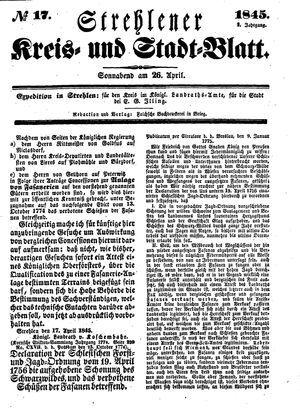 Strehlener Kreis- und Stadtblatt vom 26.04.1845