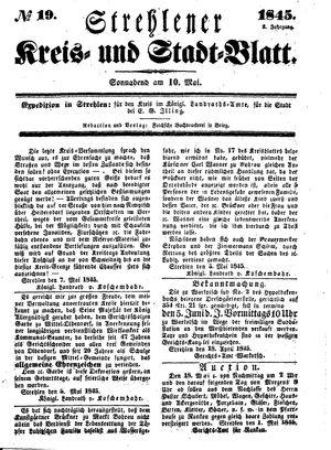 Strehlener Kreis- und Stadtblatt vom 10.05.1845