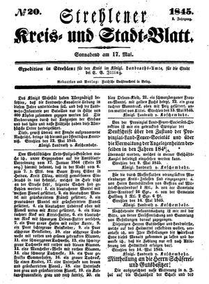 Strehlener Kreis- und Stadtblatt on May 17, 1845