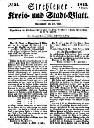 Strehlener Kreis- und Stadtblatt vom 24.05.1845