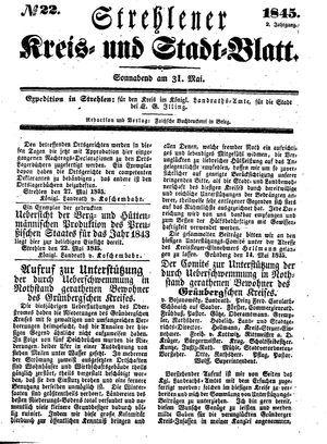 Strehlener Kreis- und Stadtblatt vom 31.05.1845