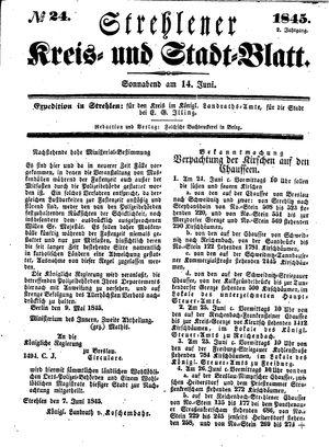 Strehlener Kreis- und Stadtblatt vom 14.06.1845