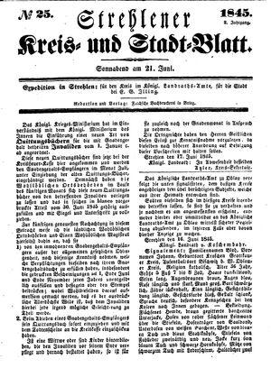 Strehlener Kreis- und Stadtblatt vom 21.06.1845